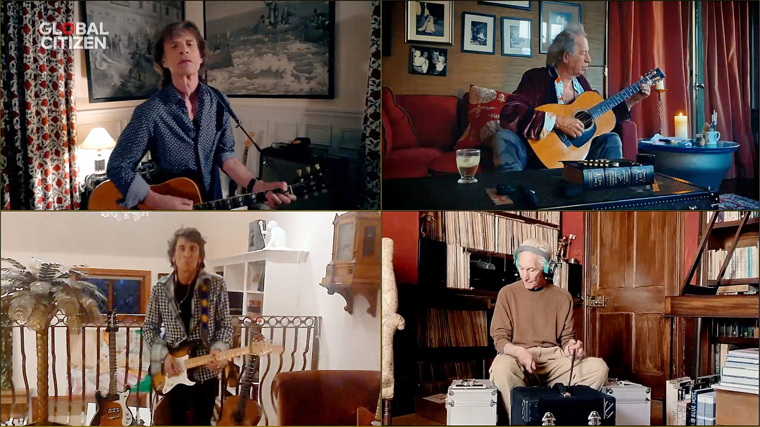 """In this screengrab, Mick Jagger, Keith Richards, Ronnie Wood and Charlie Watts of """"The Rolling Stones"""" perform during """"One World: Together At Home"""" presented by Global Citizen on April, 18, 2020. (Getty Images/Getty Images for Global Citizen )"""