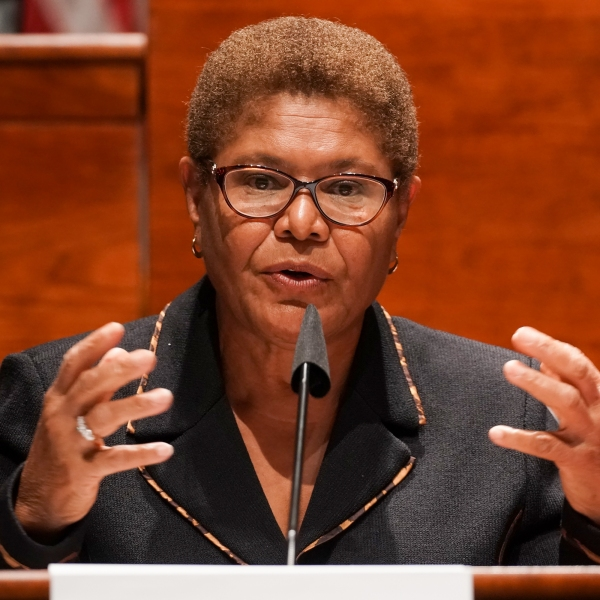 U.S. Rep. Karen Bass (D-CA) gives an opening statement during a Judiciary Committee hearing considering reforms to national policing practices on June 17, 2020. (Greg Nash-Pool/Getty Images)
