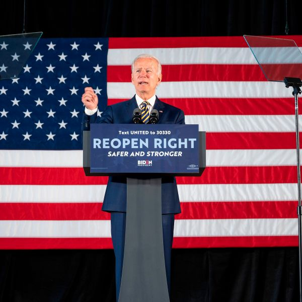 Democratic presidential candidate Joe Biden speaks about reopening the country during a speech in Darby, Pennsylvania, on June 17, 2020. (JIM WATSON/AFP via Getty Images)