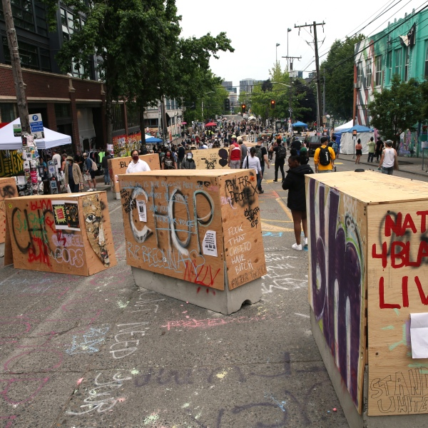 Barricades erected by the city several days ago divide up the CHOP zone on June 19, 2020, in Seattle, Washington. (Karen Ducey/Getty Images)