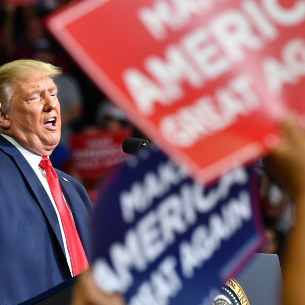 President Donald Trump speaks during a campaign rally at the BOK Center on June 20, 2020, in Tulsa, Oklahoma. (NICHOLAS KAMM/AFP via Getty Images)