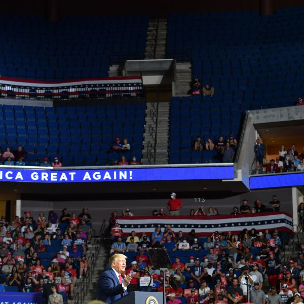 The upper section of the arena is seen partially empty as Donald Trump speaks during a campaign rally at the BOK Center on June 20, 2020 in Tulsa, Oklahoma.(NICHOLAS KAMM/AFP via Getty Images)