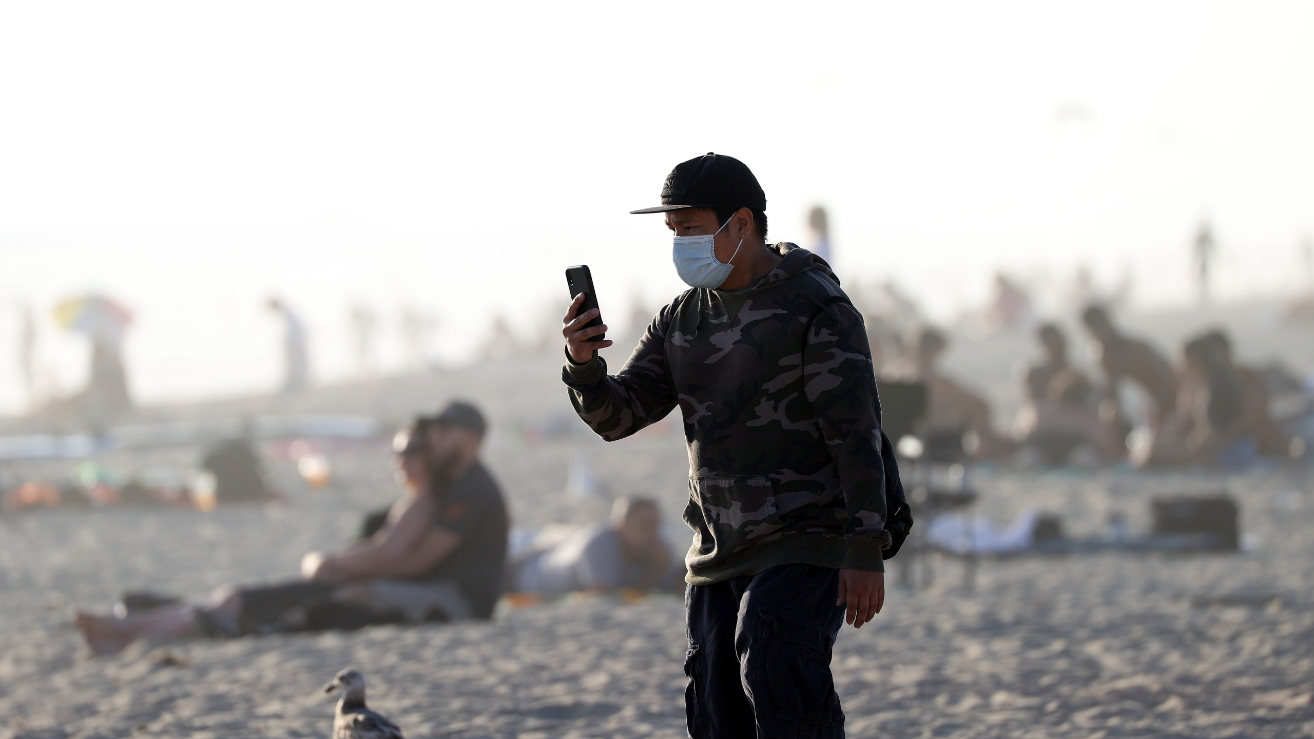 A person looks at his phone on April 30, 2020, in Huntington Beach, California. (Michael Heiman/Getty Images)