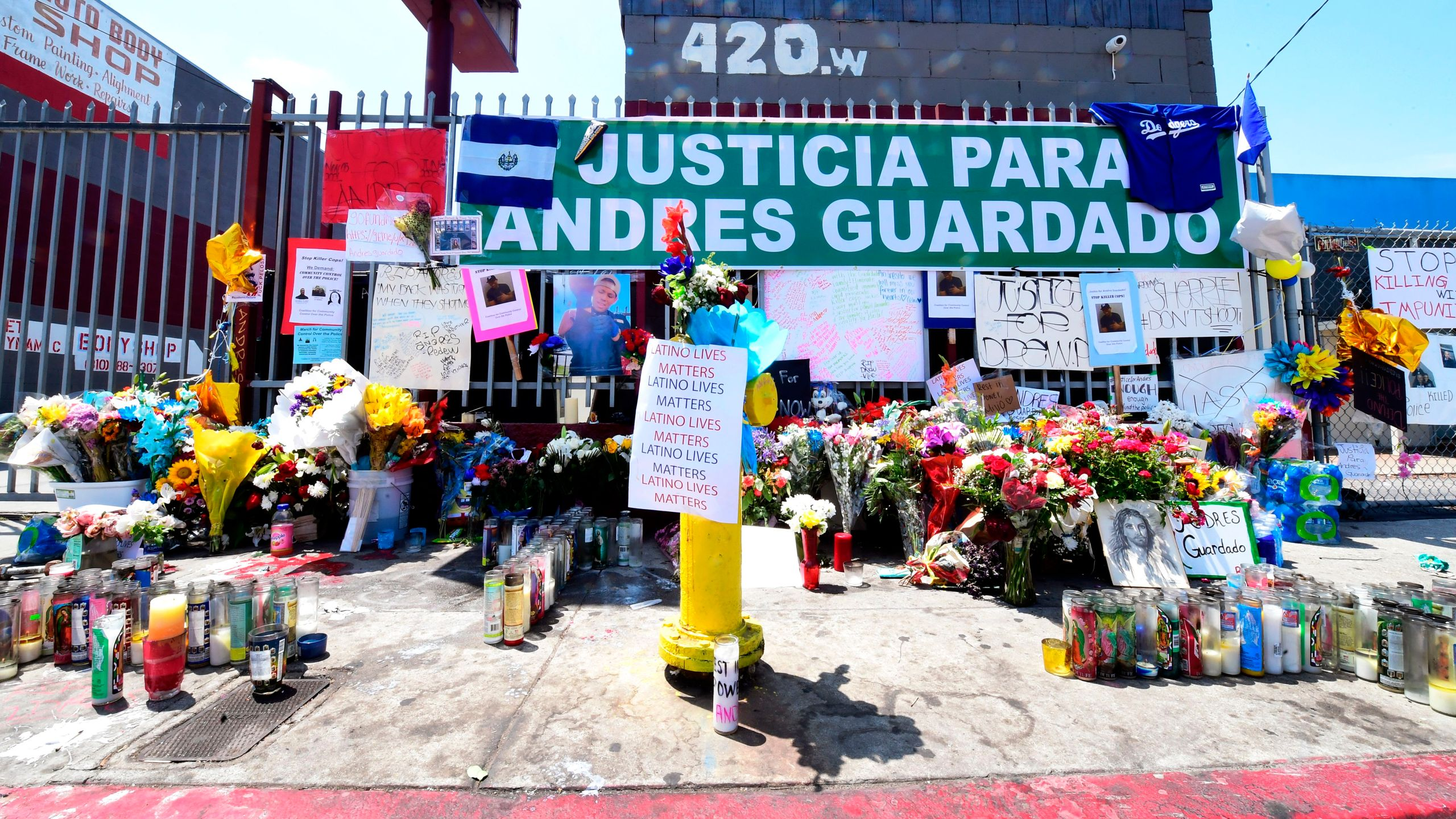 A makeshift memorial for Andres Guardado is seen on June 23, 2020 in Gardena, California near where he was fatally shot by an LA County sheriff's deputy on June 18 after he reportedly displayed a handgun. (FREDERIC J. BROWN/AFP via Getty Images)