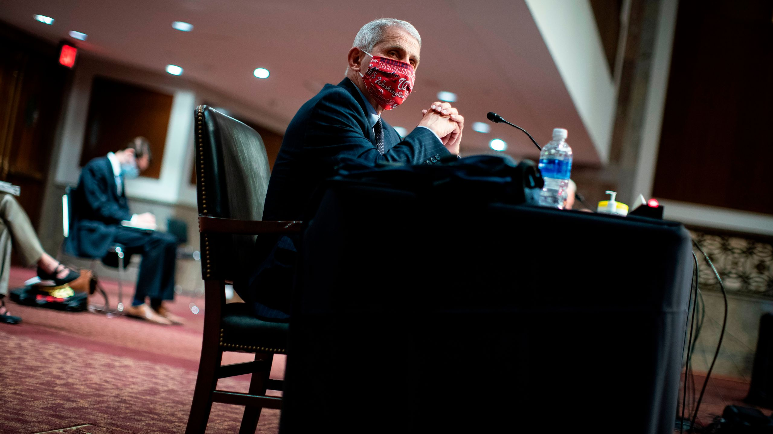 Anthony Fauci, director of the National Institute of Allergy and Infectious Diseases, listens during a Senate Health, Education, Labor and Pensions Committee hearing in Washington, DC, June 30, 2020. (AL DRAGO/POOL/AFP via Getty Images)