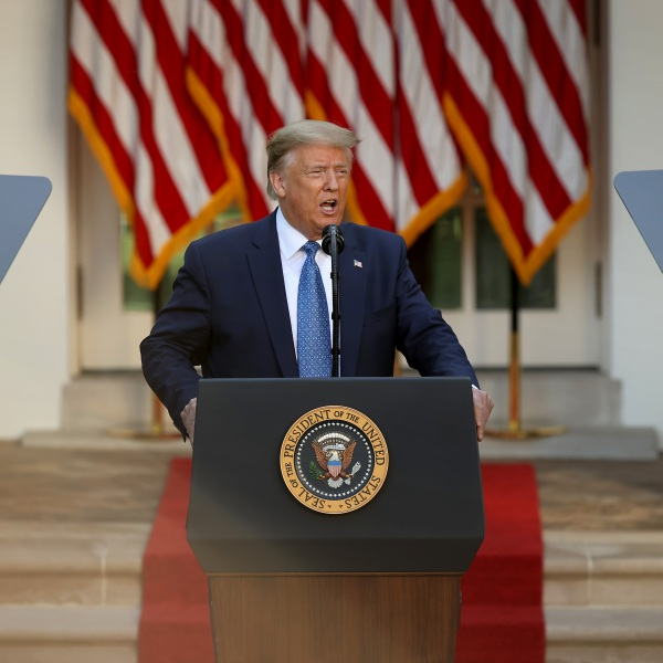 """U.S. President Donald Trump makes a statement to the press in the Rose Garden about restoring """"law and order"""" in the wake of protests at the White House June 1, 2020, in Washington, DC. (Chip Somodevilla/Getty Images)"""