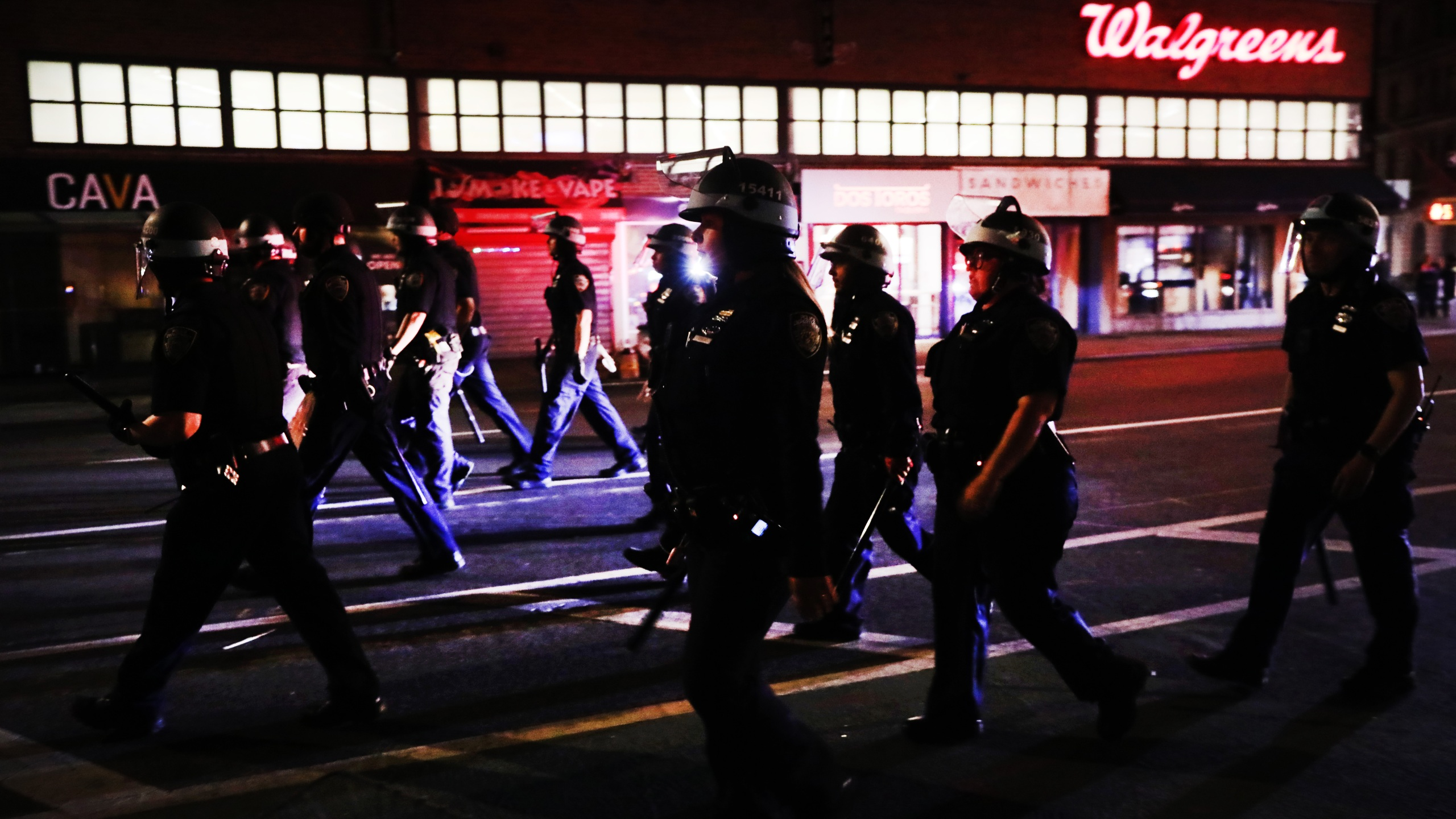Police enforce an 8 p.m. curfew as thousands of demonstrators again take to the streets of Manhattan to show anger at the police killing of George Floyd on June 2, 2020. (Spencer Platt / Getty Images)