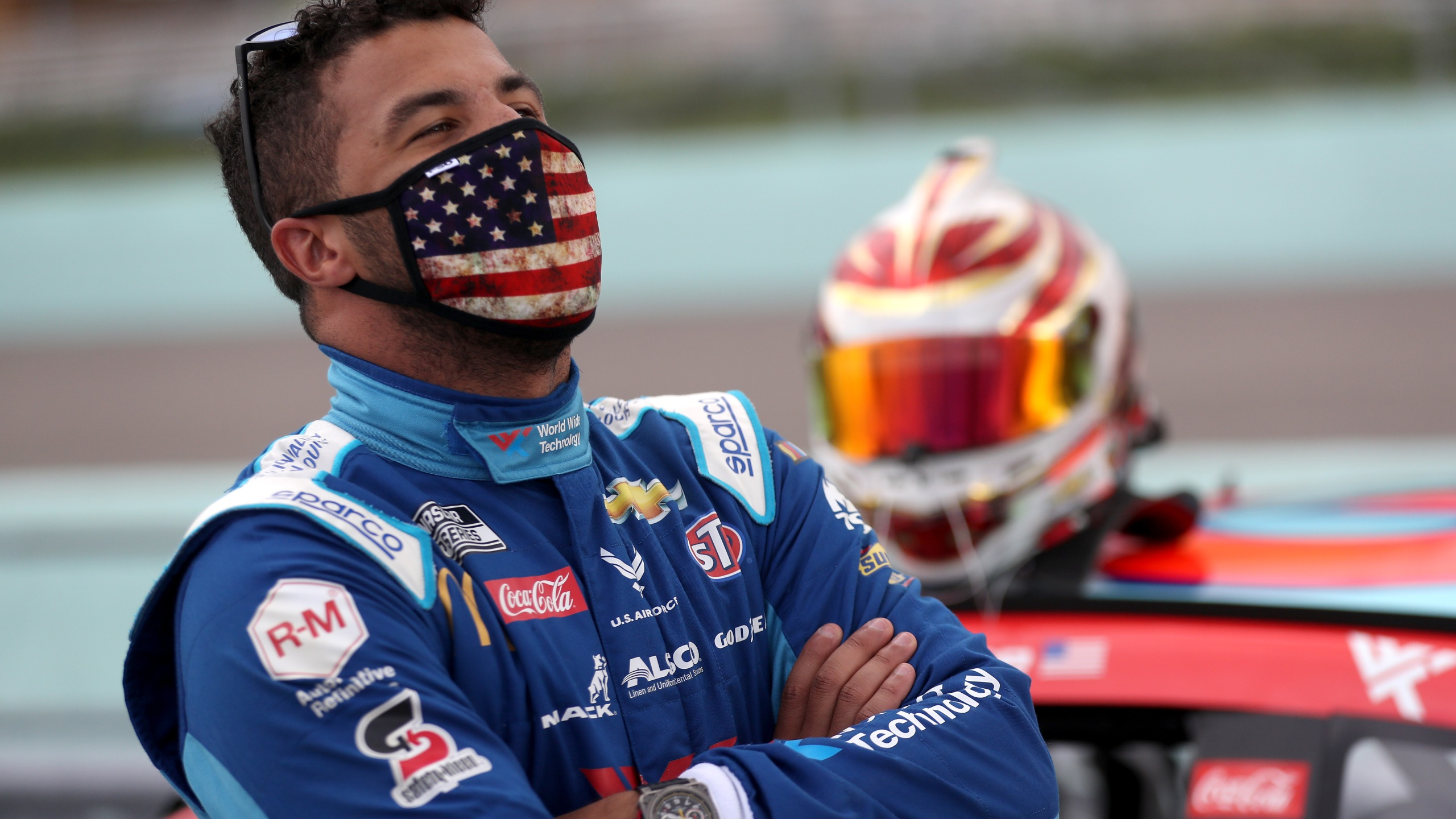 Bubba Wallace, driver of the #43 World Wide Technology Chevrolet, stands on the grid prior to the NASCAR Cup Series Dixie Vodka 400 at Homestead-Miami Speedway on June 14, 2020, in Homestead, Fla. (Chris Graythen/Getty Images)