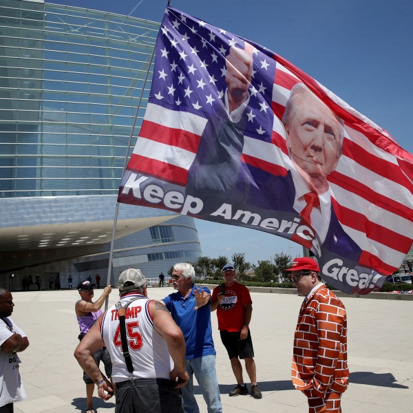 Nicholas Winford (left) debates a group of Donald Trump supporters outside the BOK Center in Tulsa, Oklahoma on June 18, 2020. (Win McNamee/Getty Images)