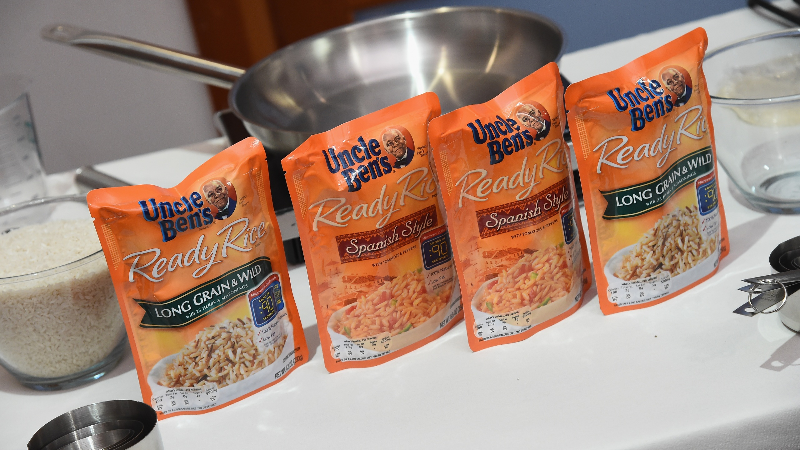 Uncle Ben's Ready Rice is seen during Ben's Beginners Cooking Contest Launch Event: Back to the Future Of Cooking at Home Studios on August 23, 2016 in New York City. (Ilya S. Savenok/Getty Images for Uncle Ben's)