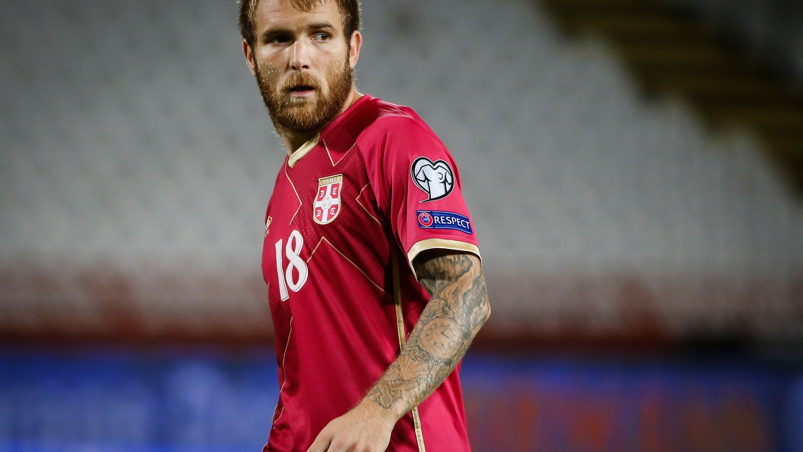 Aleksandar Katai of Serbia looks on during the FIFA 2018 World Cup Qualifier between Serbia and Ireland at stadium Rajko Mitic on Sept. 5, 2016 in Belgrade. (Srdjan Stevanovic/Getty Images)