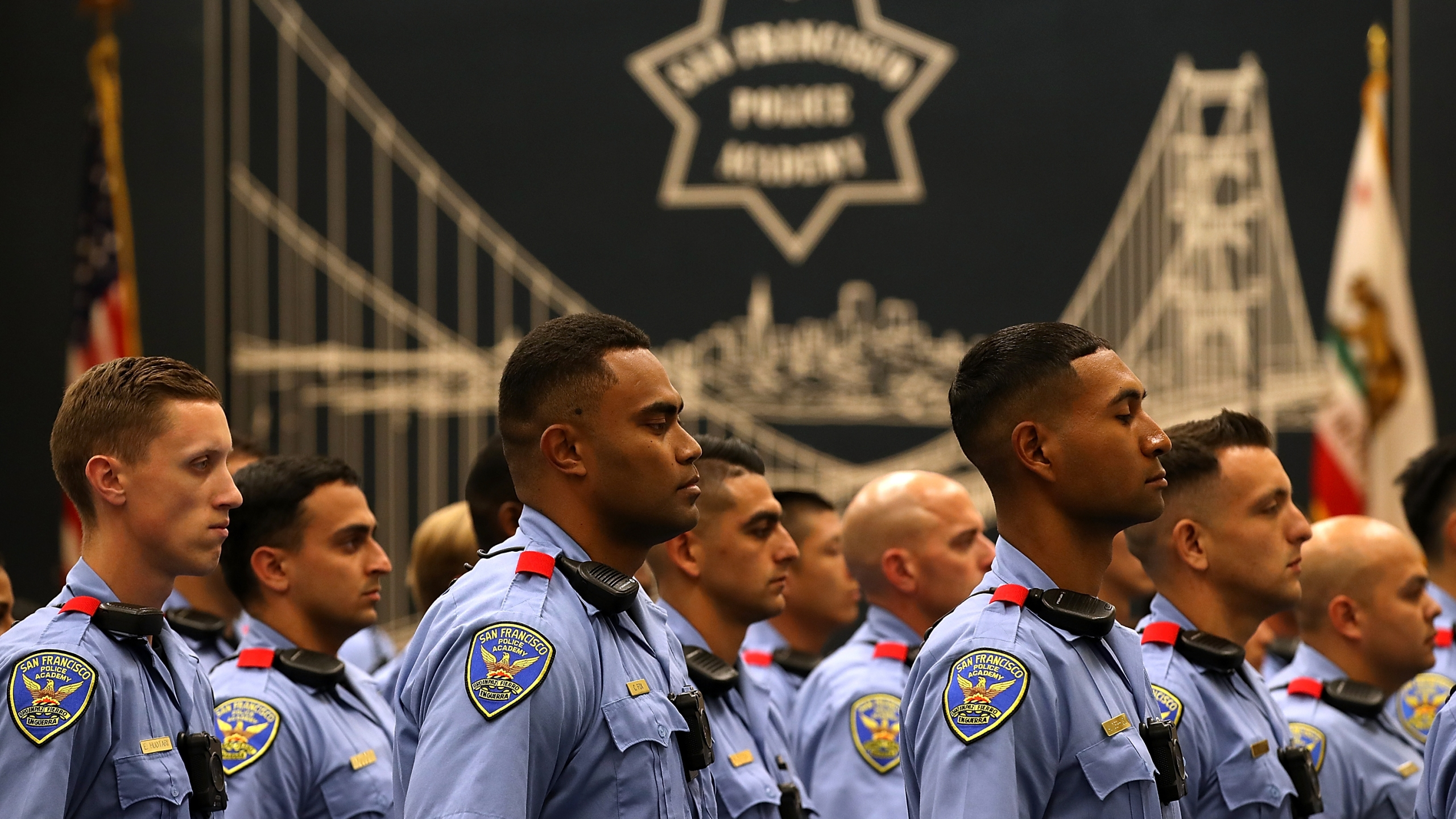 San Francisco police recruits look on during a news conference at the San Francisco Police Academy on May 15, 2018, in San Francisco. (Justin Sullivan/Getty Images)