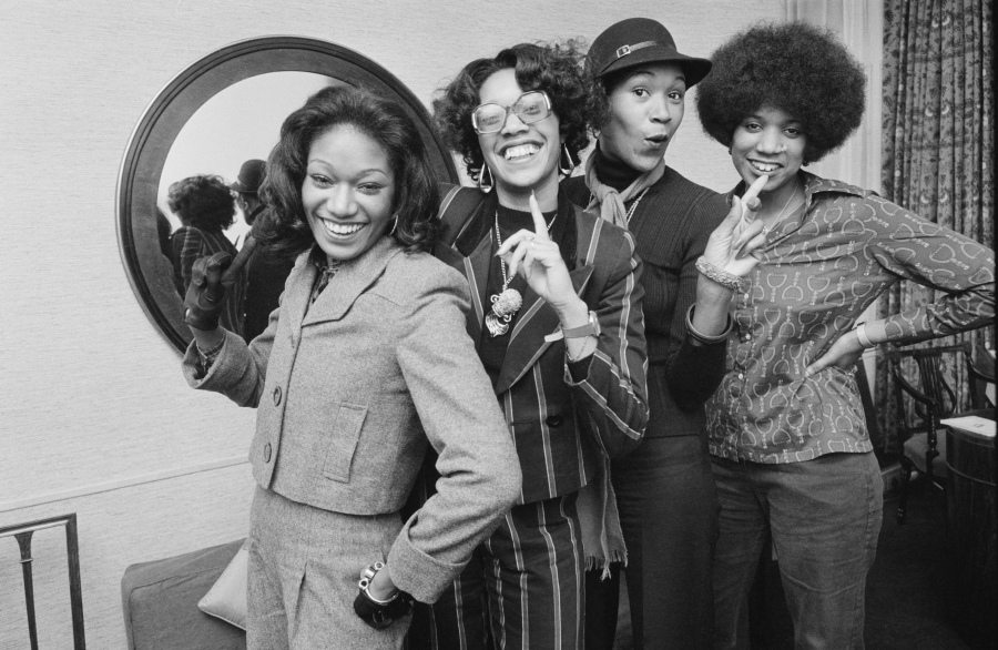 The Pointer Sisters, from left, are seen on Jan. 16, 1974: June Pointer, Bonnie Pointer, Anita Pointer and Ruth Pointer. (Daily Express / Hulton Archive / Getty Images)