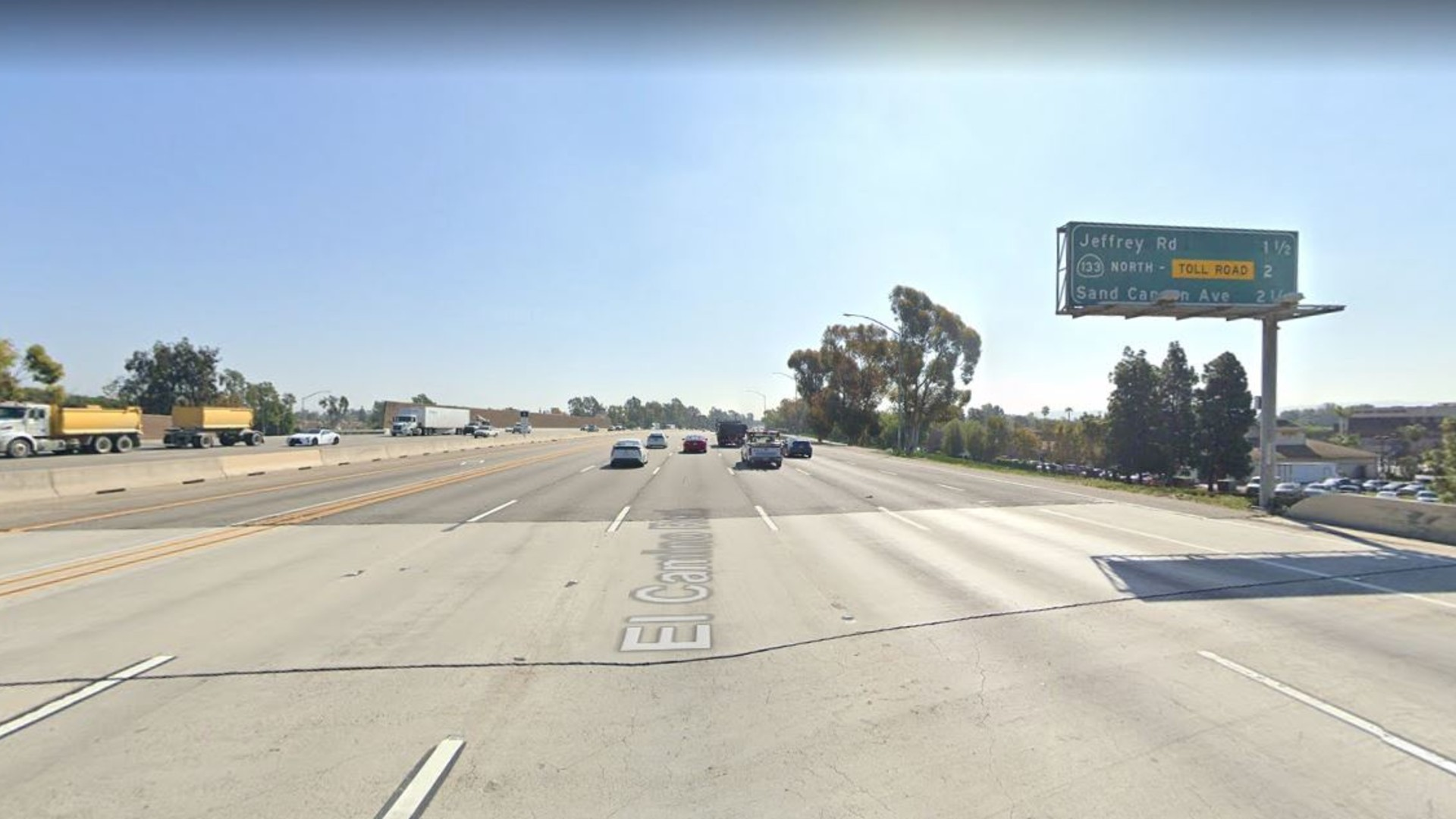 The southbound 5 Freeway, just south of Culver Drive, in Irvine, as seen in a Google Street View image.