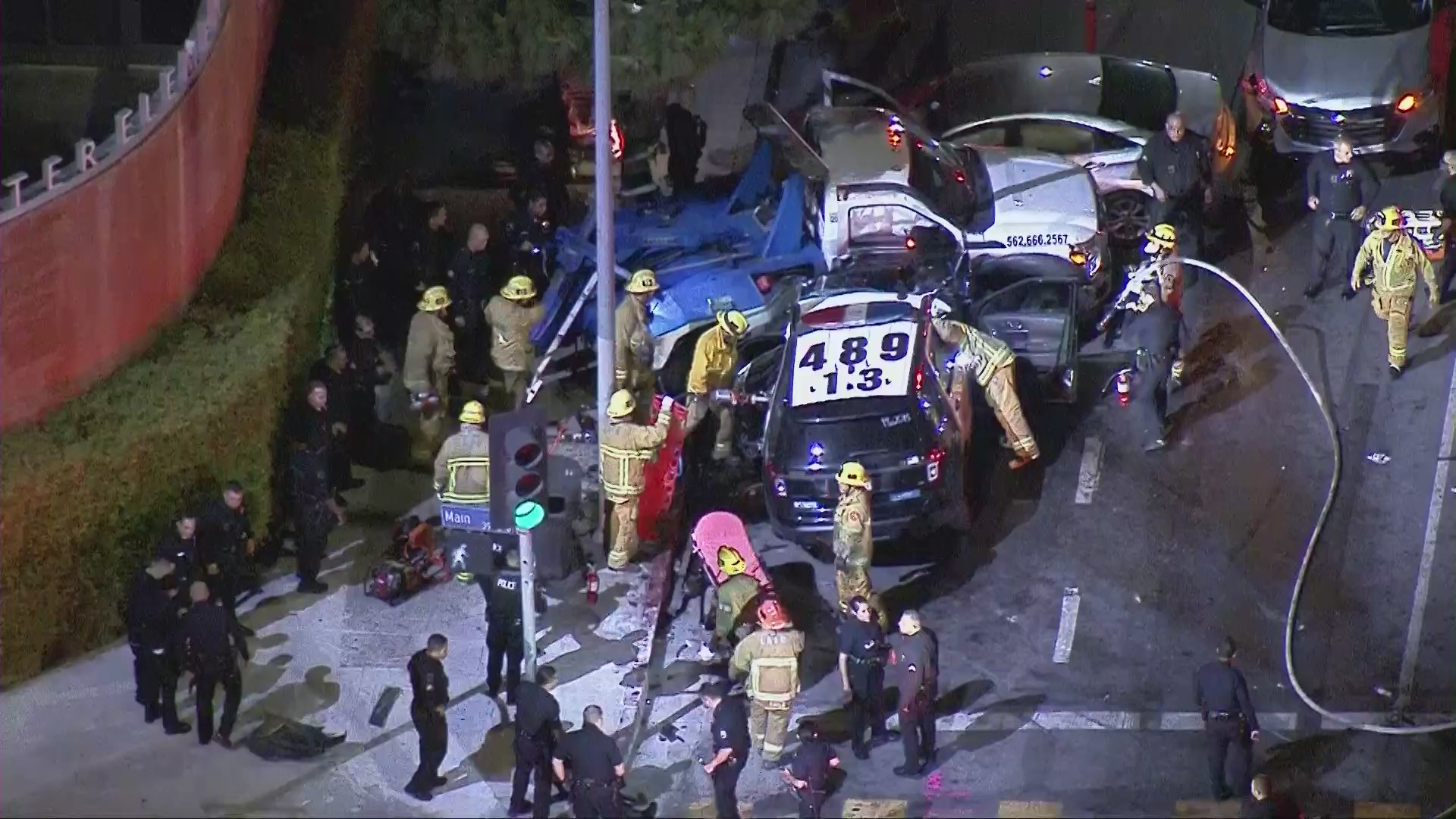 A Los Angeles Police Department SUV was involved in a multi-vehicle wreck in L.A.'s Historic South-Central district on June 3, 2020. (KTLA)