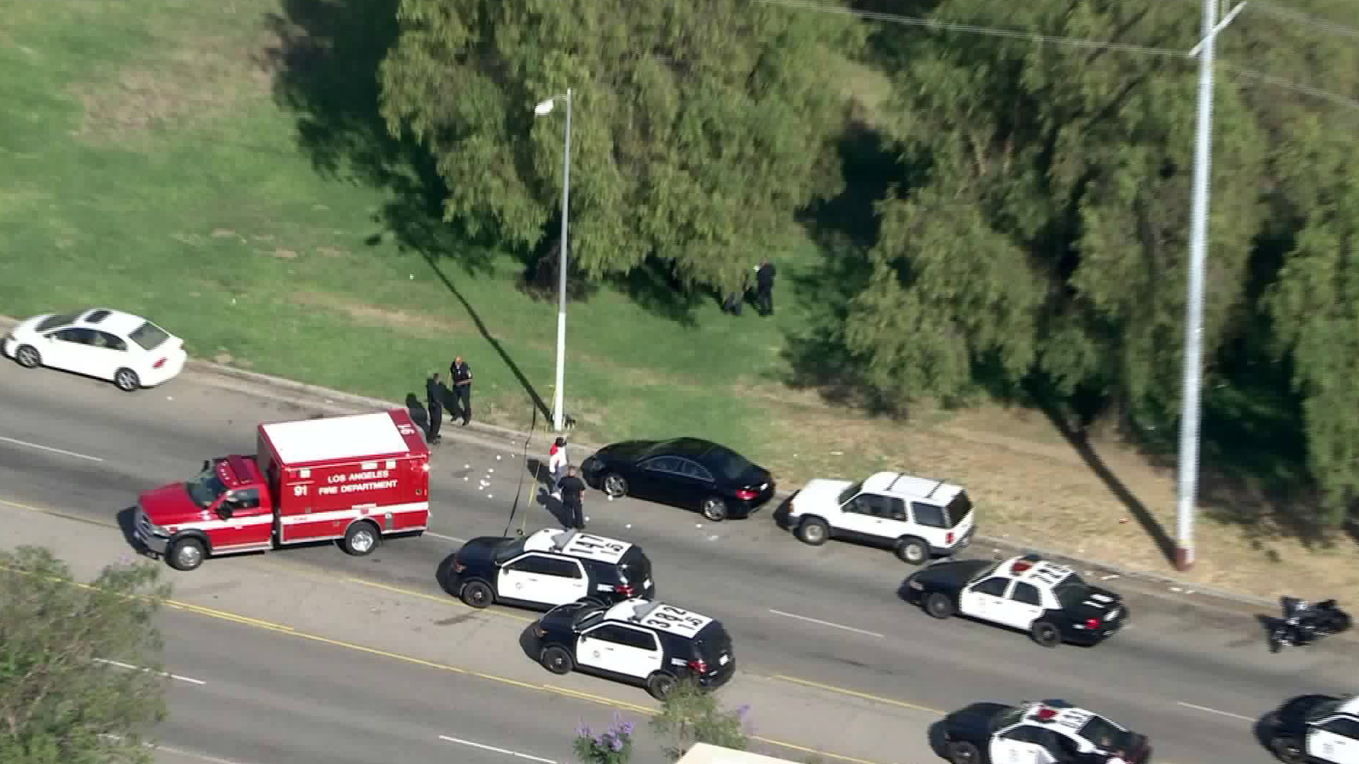 Several LAPD units respond to a shooting in the Hansen Dam area on June 29, 2020. (KTLA)