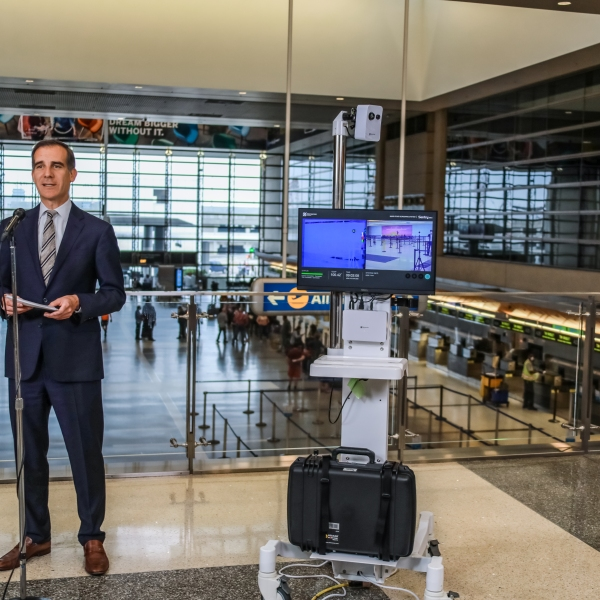 Mayor Eric Garcetti holds a news conference announcing a program to test thermal camera technology at the Los Angeles International Airport on June 22, 2020. (Mayor's office)