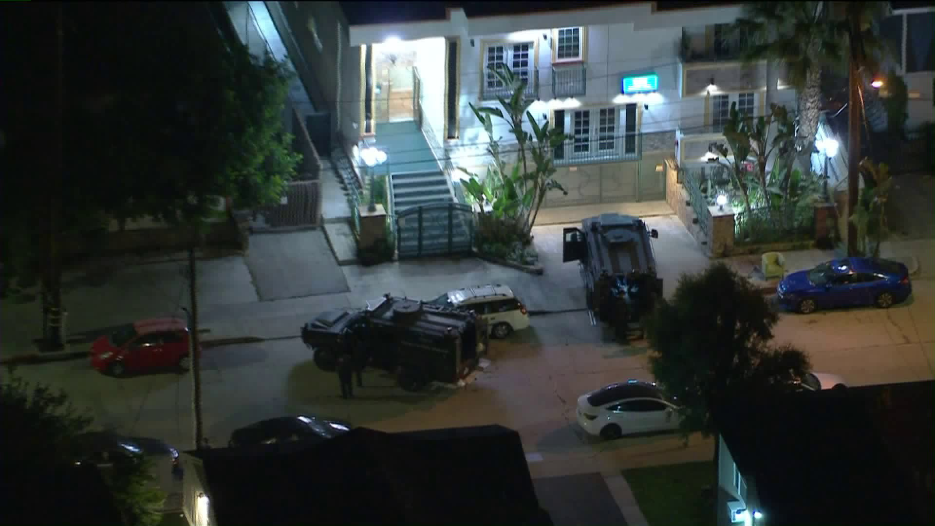 Police engage in a standoff in North Hollywood on June 7, 2020. (KTLA)
