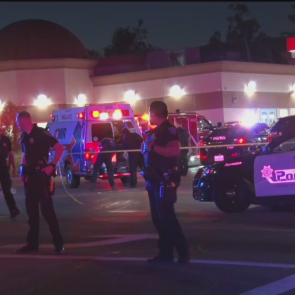 Authorities respond the scene of a deadly police shooting in San Bernardino on June 13, 2020. (LoudLabs)