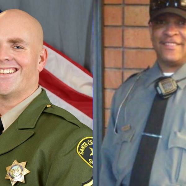 Santa Cruz Sheriff's Department Sgt. Damon Gutzwiller, 38, left, pictured in a photo released by the agency following his death in the line of duty on June 6, 2020, and federal security officer Dave Patrick Underwood, 53, right, pictured in a photo posted to GoFundMe account following his death in the line of duty in Oakland on May 29, 2020.
