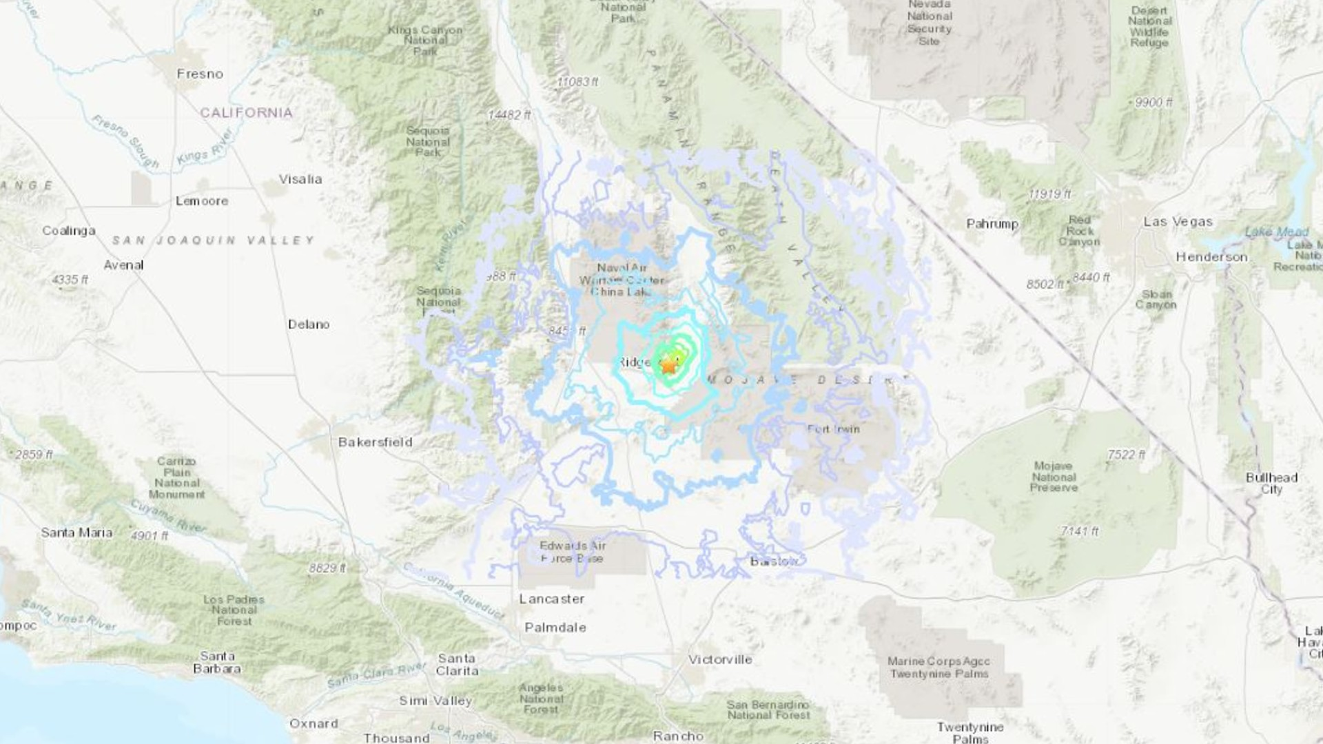 A magnitude 4.3 earthquake rattles the Searles Valley on June 7, 2020. (U.S. Geological Survey)
