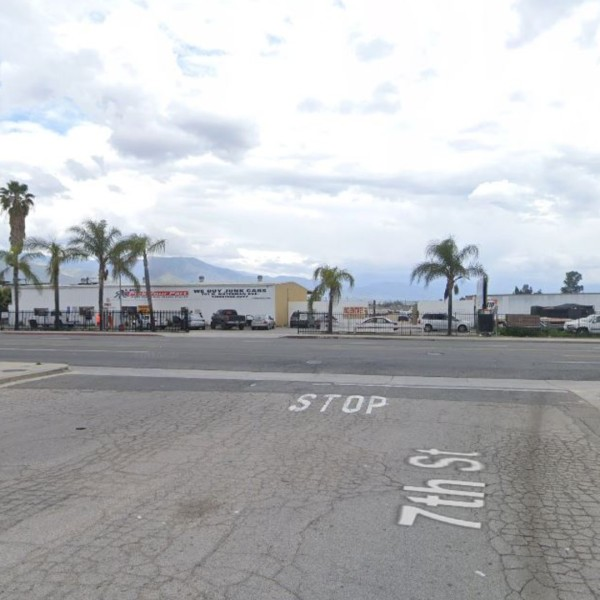 The intersection of 7th Street and Waterman Avenue in San Bernardino, as pictured in a Google Street View image.