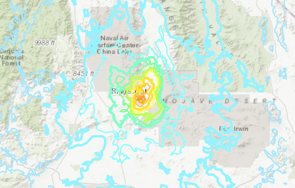 A map provided by the U.S. Geological Survey shows a 5.5 magnitude quake that hit near Ridgecrest on June 3, 2020.