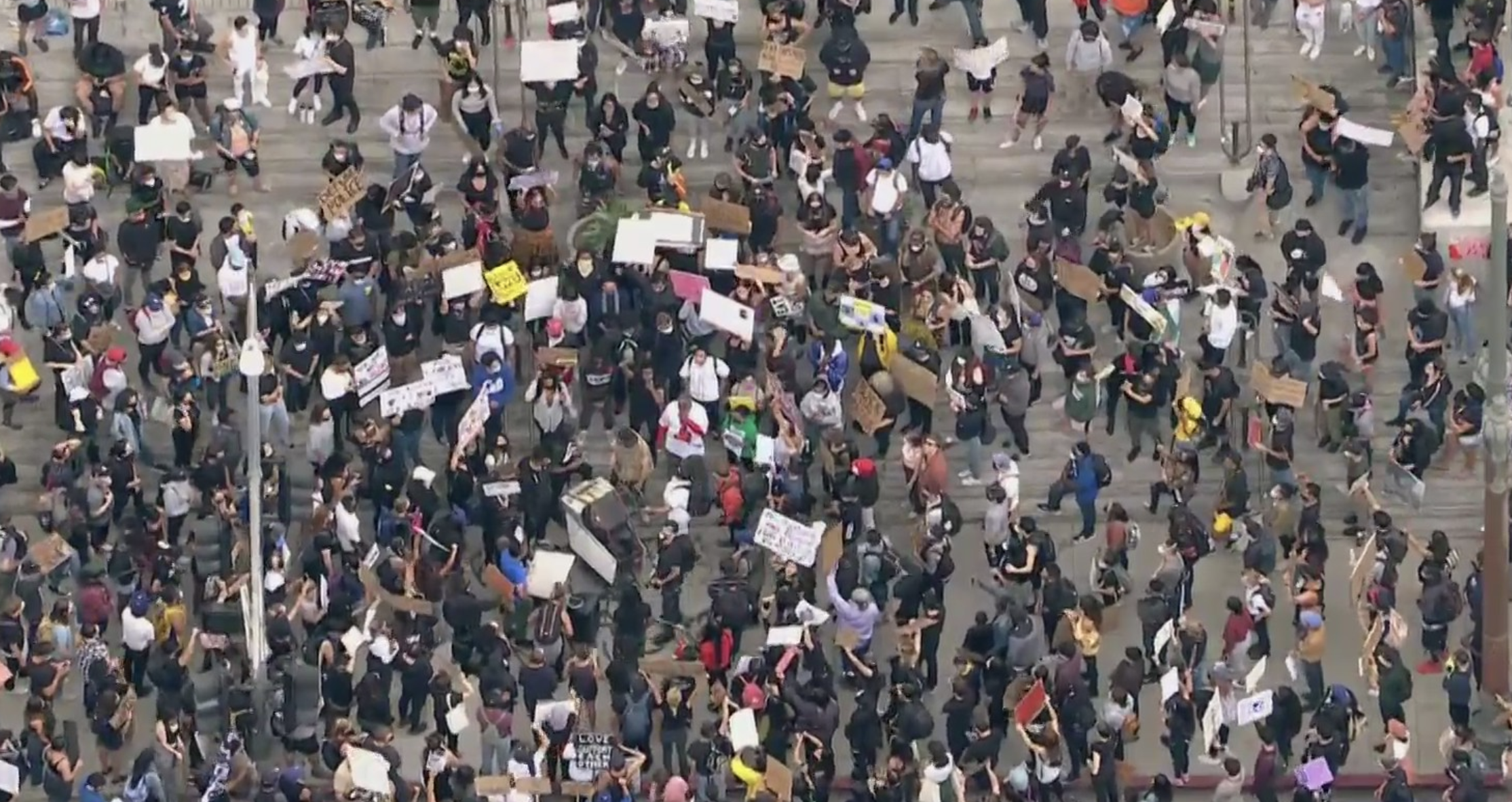 Protests in downtown L.A. on June 5, 2020. (KTLA)