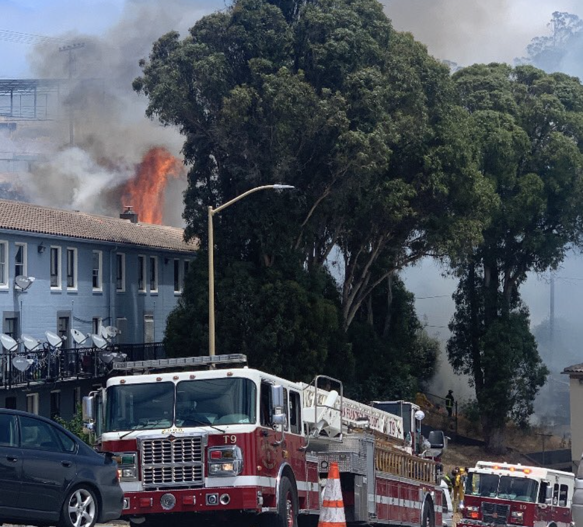 A grass fire in the in the Potrero Hill neighborhood of San Francisco on June 5, 2020. (San Francisco Firefighters 798)