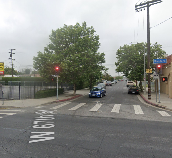 The intersection of 67th Street and Western Avenue in South L.A. is shown in a Street View image from Google Maps.