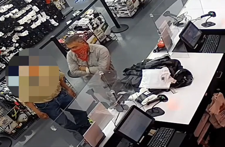 Surveillance video from June 6, 2020 released by Santa Ana police shows Sergio Magaña Arechiga and an 82-year-old man at a store.