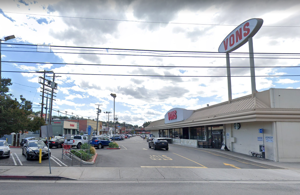 A grocery store parking lot in the 4000 block of Laurel Canyon Boulevard in Studio City is shown in a Street View image from Google Maps.