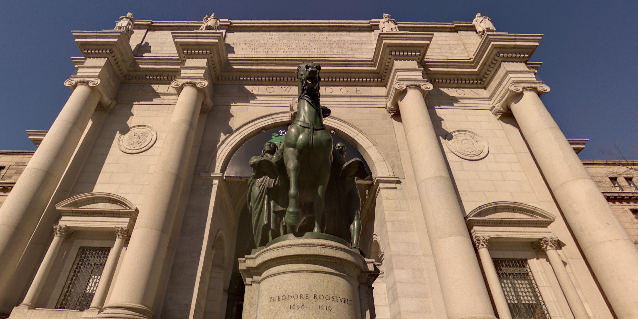 A Theodore Roosevelt statue outside the American Museum of Natural History in New York is seen in a Google Maps Street View image.