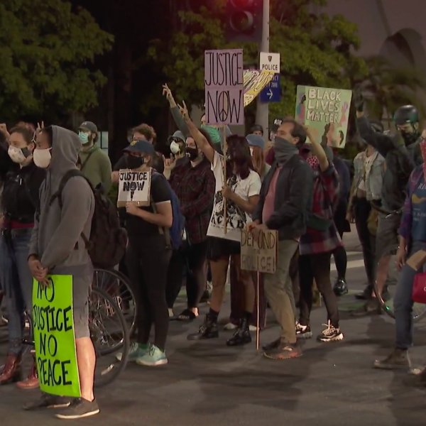 Protesters take part in a demonstration in Beverly Hills on June 26, 2020. (KTLA)
