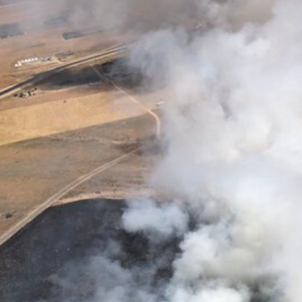 The L.A. County Fire Department Air Operations Section tweeted this image showing smoke rising from a fire in the Northwest Antelope Valley on June 21, 2020.