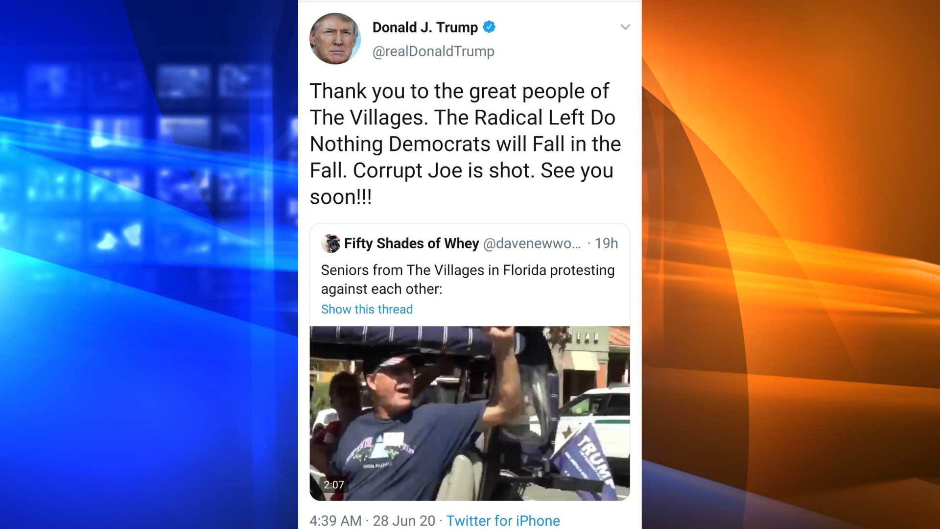 "In a now-deleted tweet, Donald Trump on June 28, 2020 shared a video of a man chanting ""white power."" (Donald Trump/Twitter)"