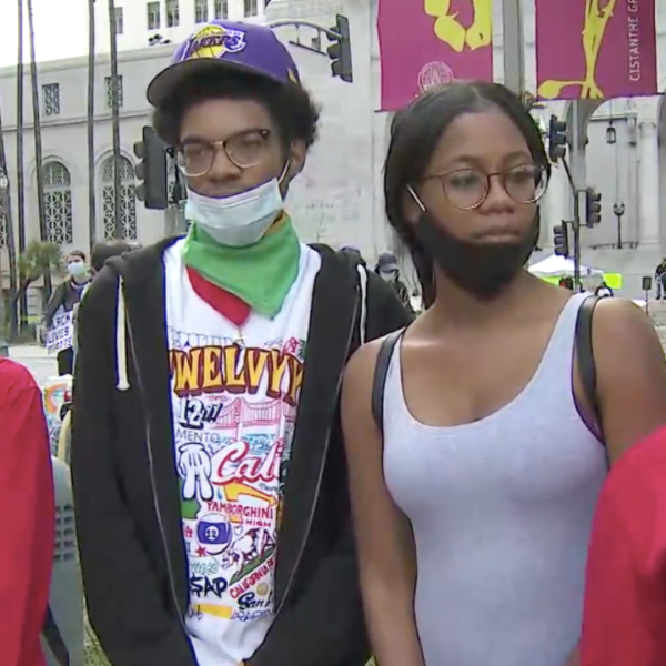 Protesters from the Historic South-Central neighborhood speak to KTLA's Erin Myers in front of the L.A. City Hall on June 6, 2020. (KTLA)