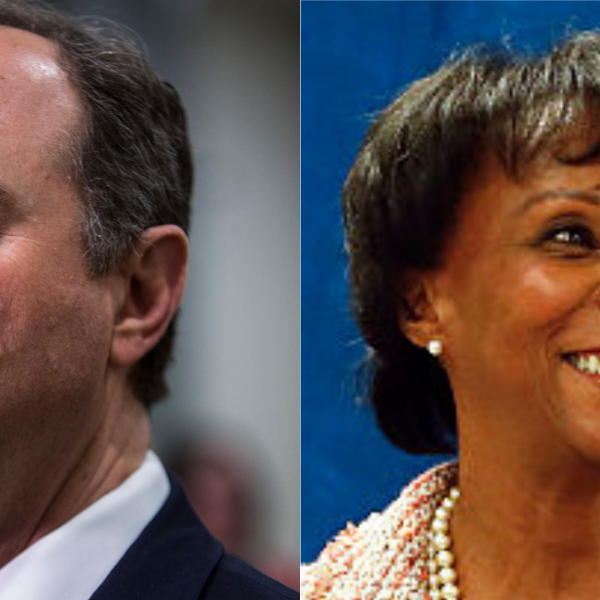Rep. Adam Schiff, left, and Jackie Lacey are seen in file photos. (Getty Images/Jackie Lacey campaign website)