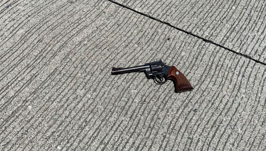 A handgun recovered by deputies following a police shooting on the 210 Freeway in San Bernardino on June 24, 2020, is seen in a photo released by sheriff's investigators.