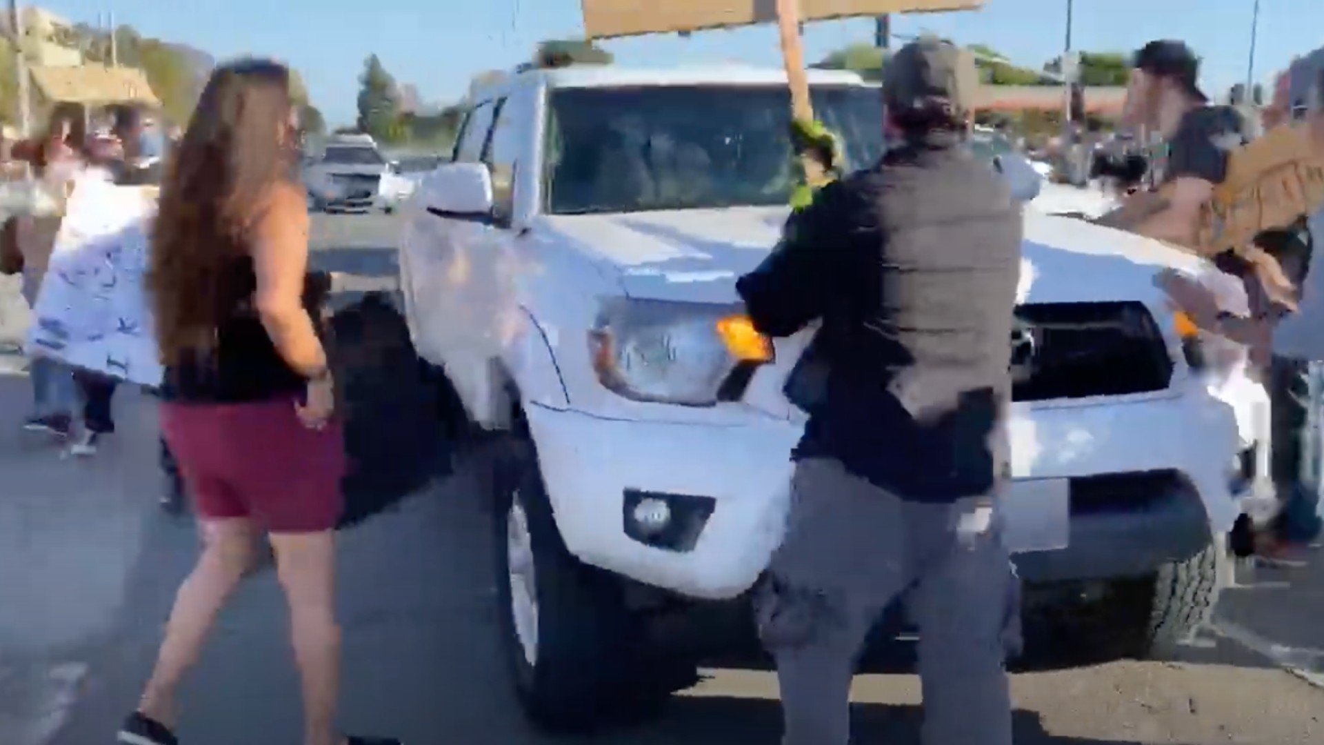 The Ventura County DA's office released video of a truck driving through a group of protesters on June 7, 2020. No charges were filed in the case.