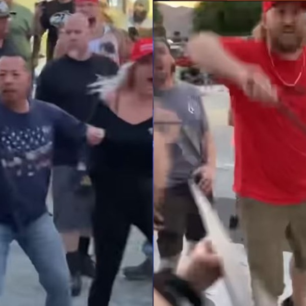 Detectives are the two men pictured in these photos with a Taser and an expandable baton baton during a fight amid a protest on June 1, 2020. (San Bernardino County Sheriff's Department)