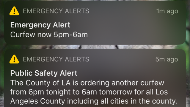 A pair of conflicting alerts were sent to Los Angeles County cellphones on June 1, 2020.