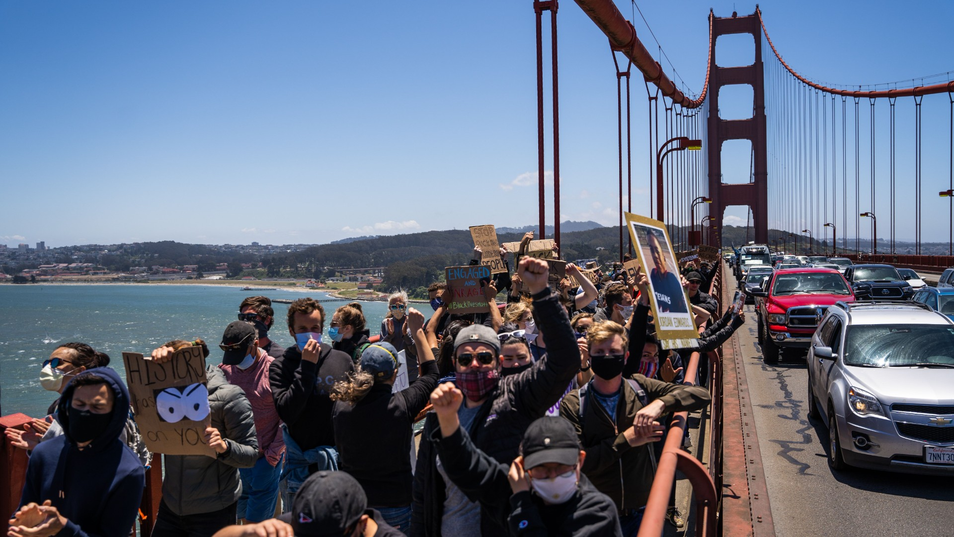 Protesters march across the Golden Gate Bridge during a demonstration against racism and police brutality in San Francisco, California, on June 6, 2020. (Vivian Lin/AFP/Getty Images)
