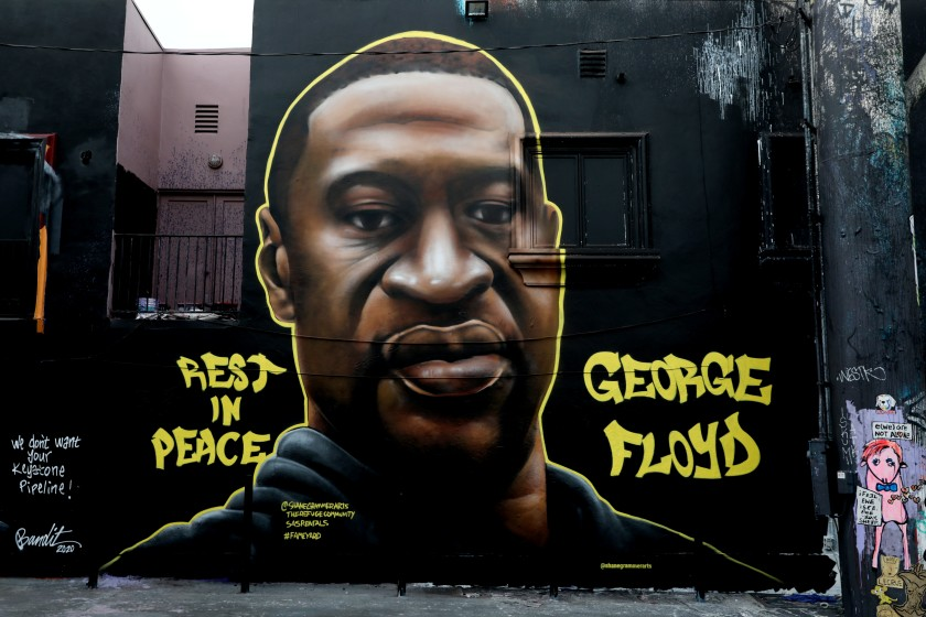 A mural of George Floyd in L.A.'s Melrose District.(Gary Coronado / Los Angeles Times)
