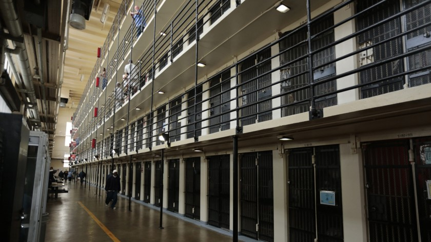 Steps are being taking to potentially move some infected prisoners at San Quentin prison to a hospital in nearby Daly City.(Mark Boster / Los Angeles Times)