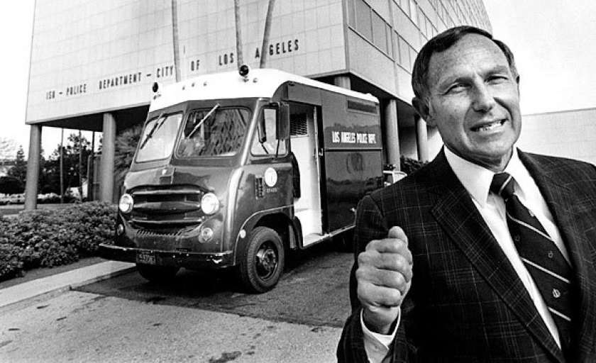 Former LAPD Chief Daryl Gates appears in a file photo from the Los Angeles Times.