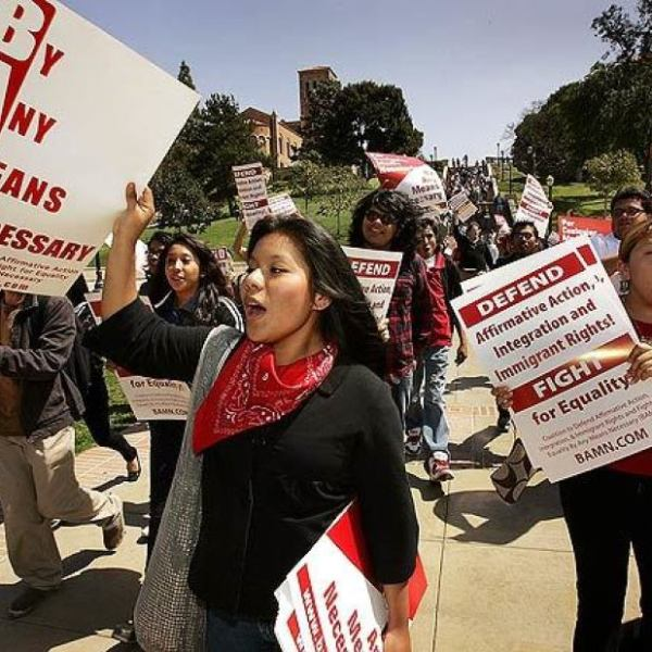 Latino high school students march at UCLA in 2008 in support of increased minority enrollment at University of California campuses.(Al Seib / Los Angeles Times)