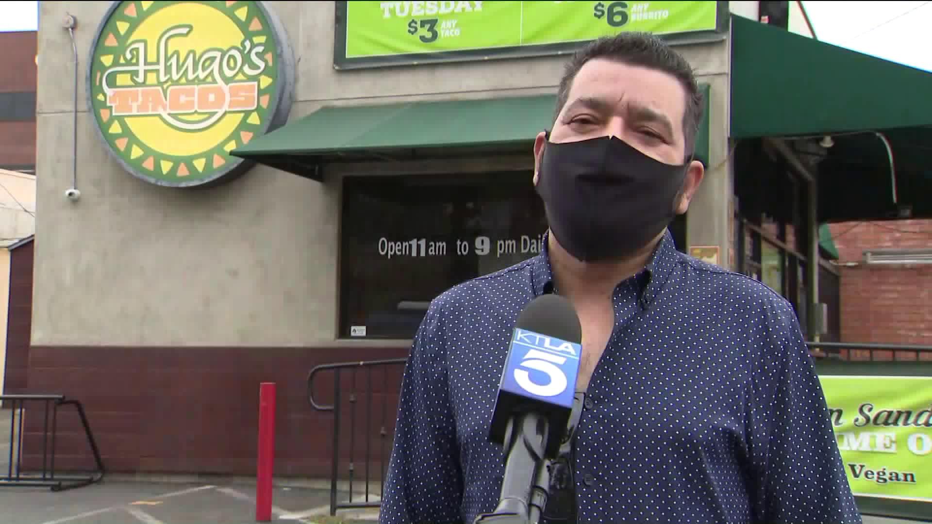 Hugo's Tacos Executive Chef Nabor Diaz speaks to KTLA in Studio City on June 28, 2020. (KTLA)