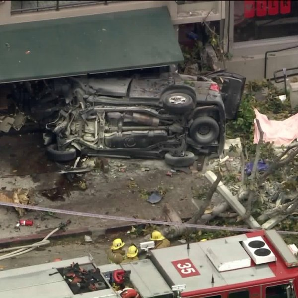 A rollover crash killed one person and injured two others in Silver Lake on June 17, 2020. (KTLA)