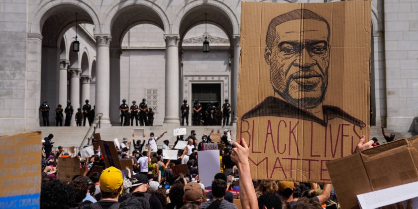 Protesters gather outside City Hall in Los Angeles to condemn the police killing of George Floyd. (Kent Nishimura / Los Angeles Times)